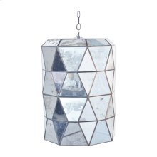 Large Faceted Mirror Lantern With Candle Cluster Ul Approved for Three (3) 40w Bulbs. Includes 3' Antique Brass Chain and Canopy. Additional Chain May Be Purchased Upon Request.