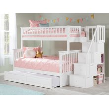 Columbia Staircase Bunk Bed Twin over Full with Raised Panel Trundle Bed in White