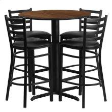 30'' Round Walnut Laminate Table Set with 4 Ladder Back Metal Barstools - Black Vinyl Seat