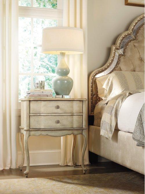 Bedroom Sanctuary Two Drawer Leg Nightstand-Pearl Essence