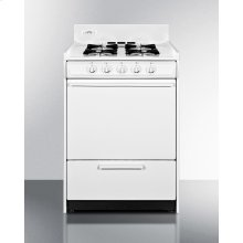 "24"" Wide White Gas Range With Battery Start Ignition"