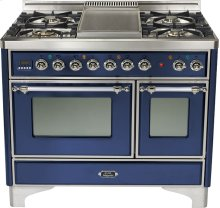 """Midnight Blue 40"""" Griddle Top Majestic Techno Dual Fuel Range"""