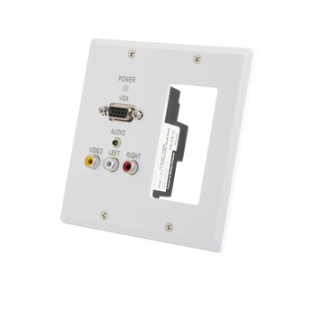 TruLink(R) Double Gang VGA+3.5mm Audio+Composite+Audio over Cat5 Wall Plate Receiver with 1 Decorative Compatible Cutout - White