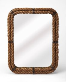 A rather unique piece, this rectangle wall mirror's iron frame is covered with rustic rope. Great for nautical spaces, entryways, bathrooms, or anywhere you want to feel the peaceful seaside.