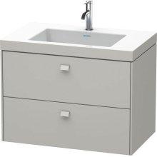 Furniture Washbasin C-bonded With Vanity Wall-mounted, Concrete Gray Matt Decor