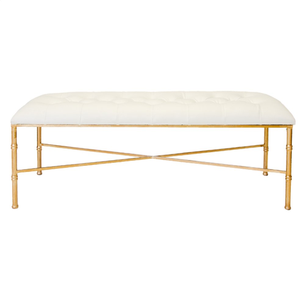 Gold Leafed Bamboo Bench With White Vinyl Upholstery