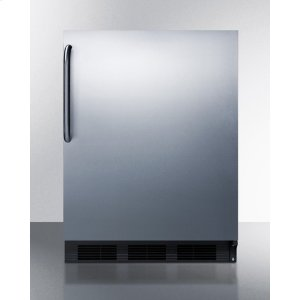 SummitBuilt-in Undercounter Refrigerator-freezer for Residential Use, Cycle Defrost With A Stainless Steel Wrapped Door, Towel Bar Handle, and Black Cabinet