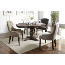 Gramercy Dark Chevron Dining Table With 4 Pierce Chairs - Ivory