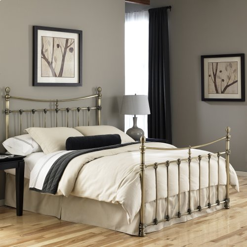Leighton Metal Headboard and Footboard Bed Panels with Straight-Lined Spindles and Scalloped Castings, Glazed Brass Finish, King