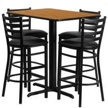 24''W x 42''L Rectangular Natural Laminate Table Set with 4 Ladder Back Metal Barstools - Black Vinyl Seat