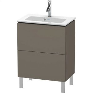 Vanity Unit Floorstanding Compact, Flannel Grey Satin Matt Lacquer