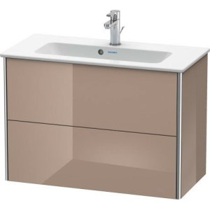 Vanity Unit Wall-mounted Compact, Cappuccino High Gloss Lacquer