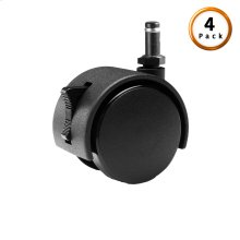 Black Push-In Locking Rug Roller Caster, 4-Pack