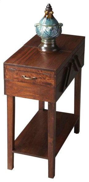 This understated table is the ideal chairside companion. It boasts both a generous top surface suitable for both a beverage and your favorite magazine, and convenient storage areas inside to tuck away everyday items for safekeeping. Handcrafted from acaci