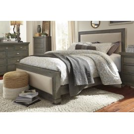 6/6 King Upholstered Bed - Distressed Dark Gray Finish