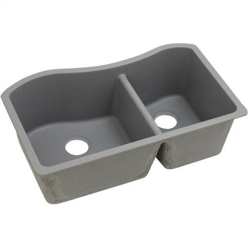 "Elkay Quartz Classic 32-1/2"" x 20"" x 10"", 60/40 Double Bowl Undermount Sink, Greystone"