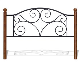 Doral Headboard with Dark Walnut Wood Posts and Metal Grill, Matte Black Finish, Full