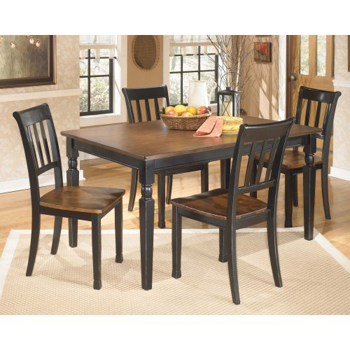Owingsville - Black/Brown Set Of Table, 4 Chairs, 1 Bench