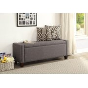GRAY LINEN BENCH W/STORAGE Product Image