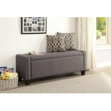 GRAY LINEN BENCH W/STORAGE