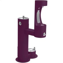 Elkay Outdoor EZH2O Bottle Filling Station Bi-Level, Pedestal with Pet Station Non-Filtered Non-Refrigerated Purple