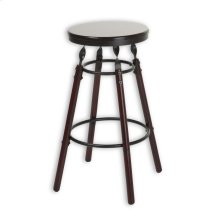 Boston Wood Barstool with Dark Cherry Backless Seat and Charcoal Metal Finish, 30-Inch
