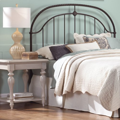 Cascade Headboard with Metal Panel and Twisted-Rope Rail, Ancient Gold Finish, King