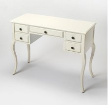 Featuring a Cottage White finish, five drawers and cabirole legs this desk works great in any space. Tuck an elegant stool beneath this crisply finished desk to create a chic vanity, or pull up a colorful office chair for an inspired workspace.