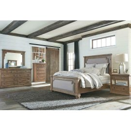 Florence Traditional Rustic Smoke and Grey Queen Four-piece Set