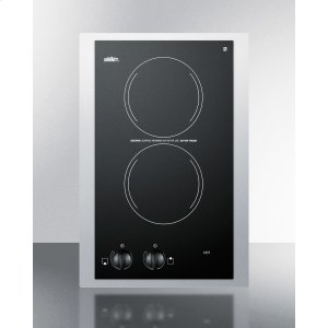 """Summit115v European Two-burner Radiant Cooktop In Black Glass With Stainless Steel Frame To Allow Installation In 15"""" Wide Counter Cutouts"""