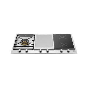 Bertazzoni36 Segmented Cooktop 1-burner, 2 induction zones and griddle Stainless