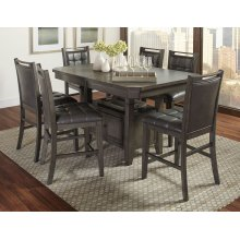 Manchester High/low Rect Dining Table With Six Stools - Grey