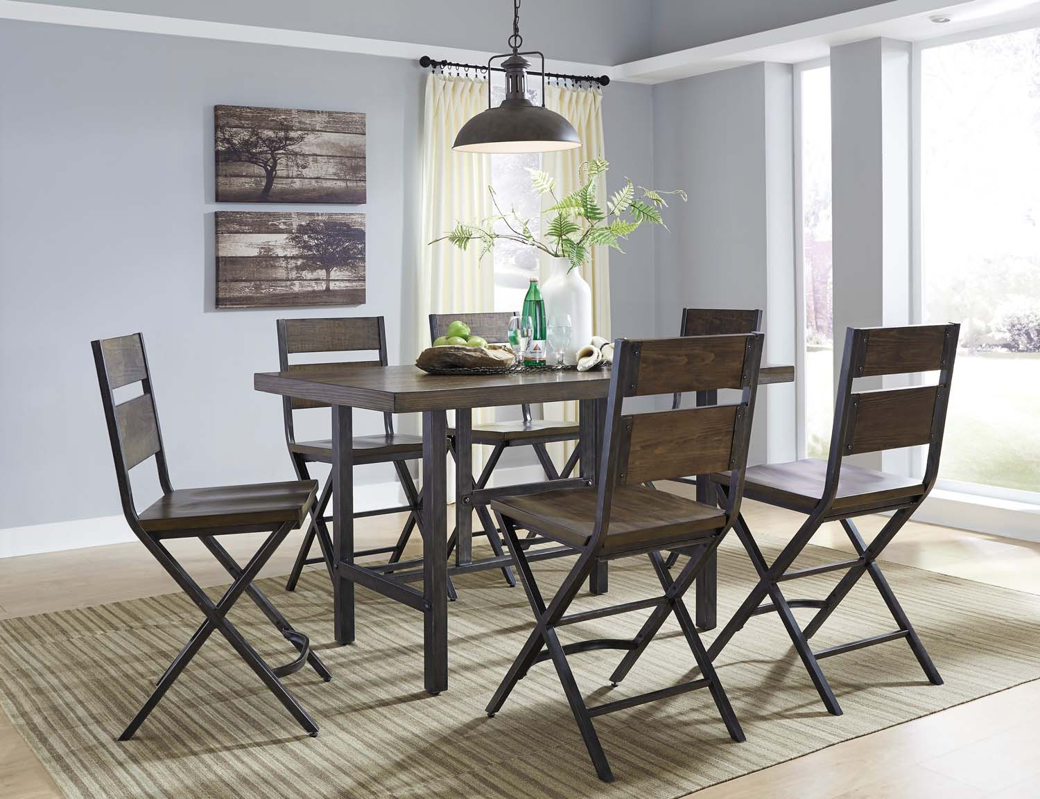 Kavara   Medium Brown 5 Piece Dining Room Set