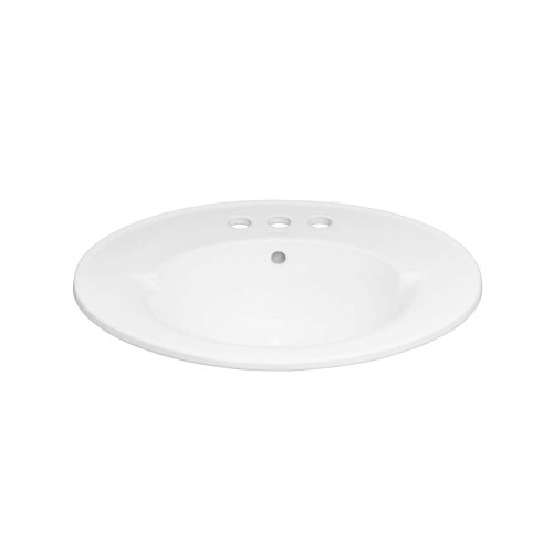 """Leonie Oval 24"""" Ceramic Drop-in Bathroom Sink with 8"""" Widespread Faucet Hole in White"""