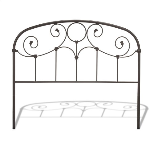Grafton Metal Headboard Panel with Prominent Scrollwork and Decorative Castings, Rusty Gold Finish, Twin