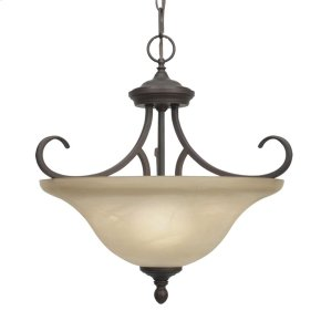 Lancaster Semi-Flush (Convertible) in Rubbed Bronze with Antique Marbled Glass
