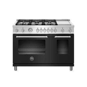 Bertazzoni48 inch All Gas Range, 6 Burner and Griddle Nero Matt