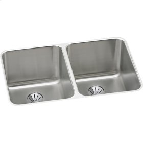 """Elkay Lustertone Classic Stainless Steel 31-1/4"""" x 20"""" x 9-7/8"""", Double Bowl Undermount Sink with Perfect Drain"""