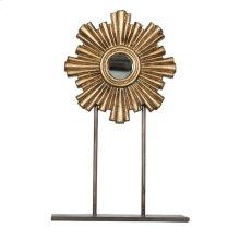 Medium Gold Leaf Iron-wood Mini Mirror On Iron Stand.