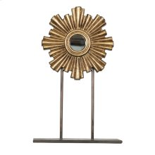 Medium Gold Leaf Iron-wood Mini Mirror On Iron Stand.