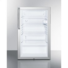 "Commercially Listed 20"" Wide Glass Door All-refrigerator for Built-in Use With Lock, Auto Defrost In Fully Wrapped Stainless Steel"