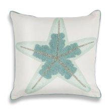 """L272 Aqua Starfish Pillow 18"""" X 18"""""""