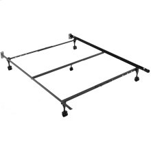 Sentry 79/60-5R Adjustable Bed Frame with Headboard Brackets and (4) 2-Inch Locking Rug Roller Legs, Full / Queen