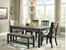 6 PIECE SET (TABLE, BENCH AND 4 SLAT BACK CHAIRS)