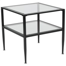Glass End Table with Black Metal Frame