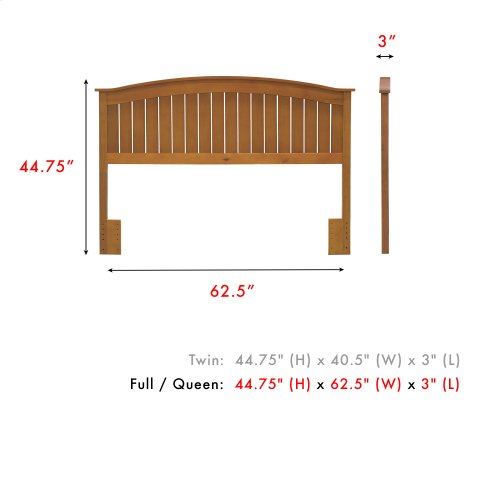 Finley Wood Headboard Panel with Curved Top Rail and Slatted Grill Design, Maple Finish, Full / Queen