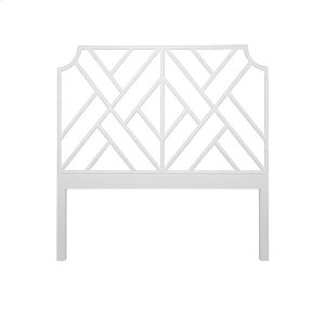 Worlds AwayChippendale Style Queen Bamboo Headboard In Matte White Lacquer