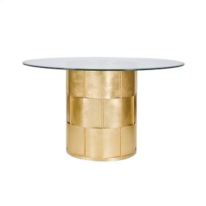 """Worlds AwayGold Leaf Basketweave Dining Table W. 48"""" Dia Glass Top"""