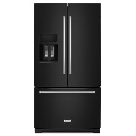 26.8 cu. ft. 36-Inch Width Standard Depth French Door Refrigerator with Exterior Ice and Water Black