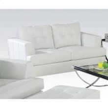 White Bonded Leather Loveseat